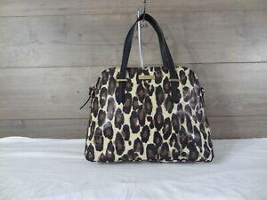 Kate Spade Cedar Street Maise Leopard Leather Satchel Handbag Purse Tote