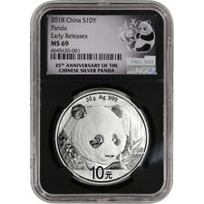 2018 China Silver Panda 30 g 10 Yuan - NGC MS69 - Early Releases 35th Ann Black