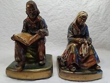 "Pair of Cast Bronze Bookends, ""Darby & Joan"", Armor Bronzes, 1920's - 1930's"