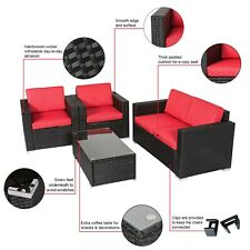 4 PC Outdoor Patio Rattan Wicker Sofa Sectional Furniture Set Cushioned Lawn Red