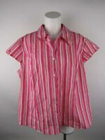 George Women 22W/24W Pink Stretch Pinstripe Short Sleeve Button Down Shirt Top