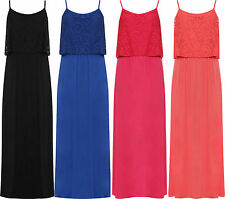 Ladies Sleeveless Floral Lace Stretch Long Maxi Strappy Summer Casual New Dress