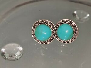 STERLING SILVER 925 TURQUOISE STUD EARRINGS STUNNING NEW