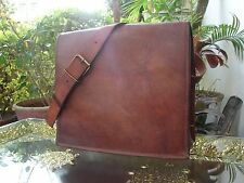 Men's Vintage Brown Leather Full Flap Messenger Laptop Satchel Shoulder Bag