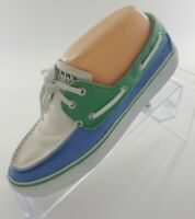 Sperry Top Sider Women's 7 M Green Blue Beige  Plaid Textile Sneakers Deck Boat