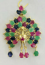 14k Solid Yellow Gold Dangle Peacock Pendant With Natural Oval Ruby/Sapphire Em