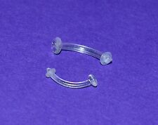 CLEAR HYPOALLERGENIC CURVED BARBELL RETAINER IN 1.2 OR 1.6 mm EAR EYEBROW