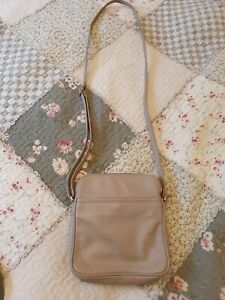 Visconti Beige Leather Cross Body Messenger Bag
