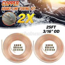 2x 25Ft Roll Coil 3/16'' OD Copper Nickel Car Brake Line Tubing Kit Nuts