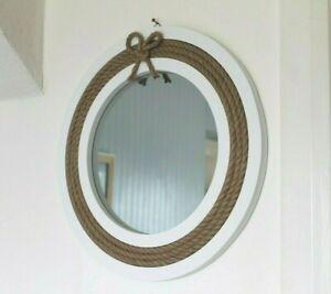 Large Wooden Nautical Life Buoy Mirror with Rope Coastal Design 40 cm Life Ring