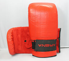 ARENA Boxing Bag RED Suede Mitts Sparring MMA Karate Training Gloves