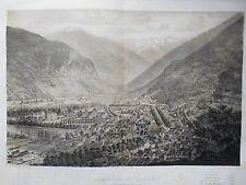 Grande Lithographie en deux tons - Panorama de Luchon - Pyrénées - Circa 1850