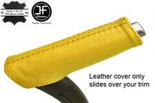 Cubierta de cuero real de freno de mano mango amarillo se ajusta Audi A3 8P 04-12