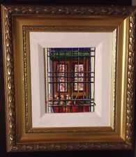 Framed Miniature Oil Painting Window Flowers and Plants Gold Frame