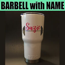 Barbell Name Monogram Vinyl Decal Sticker for YETI RTIC Tumbler Weight Lifter