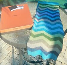 "Authentic $467 Missoni Home 54""x70 ZizZag Fringed Throw Blanket 100%Wool NWT"