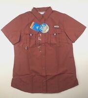 Columbia PFG Womens Medium Bahama Red S/S Omni Shade Button Casual Shirt NWT