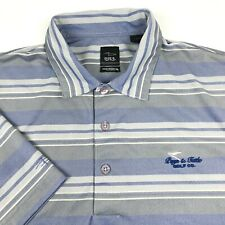 Page & Tuttle Blue Striped Athletic Short Sleeve Rugby Golf Polo Shirt Mens L **