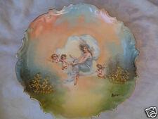 VICTORIAN ANTIQUE LIMOGES PORCELAIN ARTIST SIGNED LADY CHERUBS PLATE
