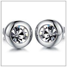 New Womens Mens Cubic Zirconia Rhinestone Stainless Steel Silver Stud Earrings