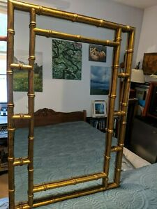 """Vintage Giltwood Hand-carved Bamboo-style Mirror: Gold w/Black Veins 25x37"""""""