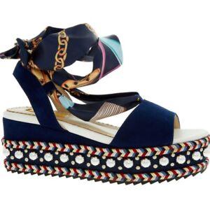 REBECCA WHITE Blue Leather Wedge Sandals, UK 5/ EU38, RRP £125.00