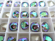 1 Paradise Shine Foiled Swarovski Crystal Square Cushion Cut  Stone 4470 12mm