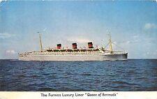 Furness Luxury Liner Queen Bermuda Quadruple Screw Turbo Elec Vessel Postcard
