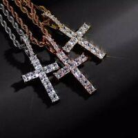 Fashion Zircon Crystal Cross Pendant Necklace Chain Choker Unisex Jewellery Hot