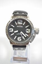 TW Steel TW37 Canteen Black Dial Black Leather Crystal Watch
