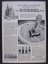 1956 Korbel Champagne Brut Sec Rouge Rose winery art vintage print Ad