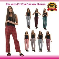 Women's Ladies Woven Pyjama Bottoms Loungewear Pants Trousers Night PJS