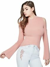 GUESS Sweater Women's Cold Shoulder Stretch Knit Sweater w- Cut Outs S Pink NWT