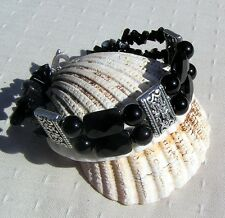 "Black Onyx Crystal Gemstone Beaded Bracelet ""Total Eclipse"""