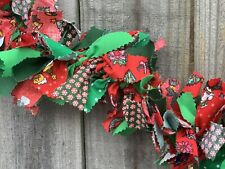 Christmas Winter Red Green  Color Light Fabric Rag Garland 4ft