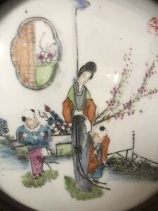 antique Late Qing dynasty Chinese Export porcelain plaque Rose Famille China Wow