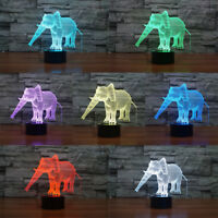 Elephant 3D Illusion LED Night Light 7 Color Change Table Desk Lamp Xmas Gift