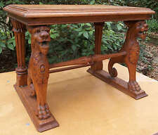 Antique Continental Carved Lion Gargoyles Oak Jewelry Box Stand