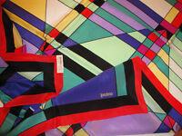 LOREDANO RARO FOULARD VINTAGE crepe 100% seta PURA multicolore Mondrian 87x85cm