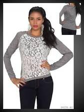 Langarm Pullover mit Spitze Pulli Sweater Langarmshirt grau weiß 38 (863)