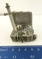 """Spoontiques Pewter - Treasure Chest - Jewels Skulls Oh My 2 1/2"""" Tall #MR839"""