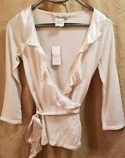 XS nwt silk cashmere ruffle wrap sweater top banana republic 3/4 sleeve cream