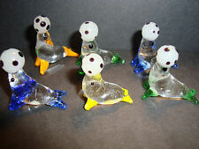 Genuine Handmade  Spun Glass~set of 6 Seals~Figures~Ornament~Fish~uk seller