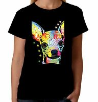 Velocitee Ladies T-Shirt Psychedelic Chihuahua Dog A18494