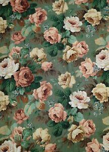 1.75 Mtrs Vtg Arthur Sanderson Floral Rose Linen Union Uphols Fabric