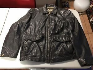 PRE-OWNED Columbia Lined Leather Jacket Black Men's Size L Real Leather LARGE