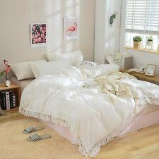 Boho Bedding Doona Duvet Cover White Comforter Cotton Tassel blanket Quilt Cover
