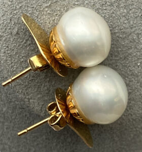 Huge White South Sea Baroque 12mm Pearl 14K Yellow Gold Stud Classic Earrings