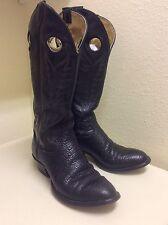 VTG Tony Lama ~ BUCKAROO~ BULLHIDE~ Pull Holes Cowboy Western Mens 8 D Boots