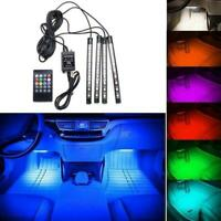 4X RGB 9LED DC12V Car Interior Neon Atmosphere Strip Remote Control Music W3I9